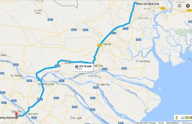 Bản đồ tham khảo từ Sài Gòn đến chợ nổi Cái Răng.